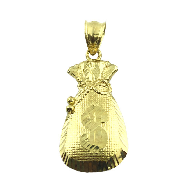 EMBOSSED $ SIGN 10K YELLOW GOLD PENDANT| 2.3G