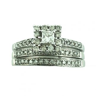 10K WHITE GOLD BRIDAL SET| 7.0G| 1.50CT TDW| SIZE 10.75""
