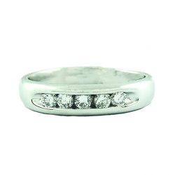 14K WHITE GOLD MENS BAND| 6.6G| 0.50CT TDW|SIZE 12.25""