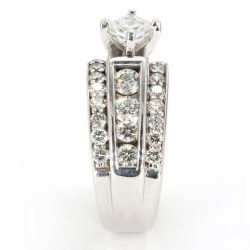 "DIAMOND BRIDAL SET 14K WHITE GOLD| 0.75CT CENTER| 3.00CT TDW| SIZE 5.25"""
