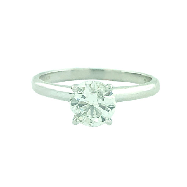 SOLITAIRE DIAMOND ENGAGEMENT RIN 14K WHITE GOLD|2.2G| 0.82CT TDW|SIZE 6.25""