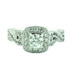 "DIAMOND ENGAGEMENT RING 14K WHITE GOLD| 0.25CT(C)| 1.00CT TDW| SIZE 4.50"""