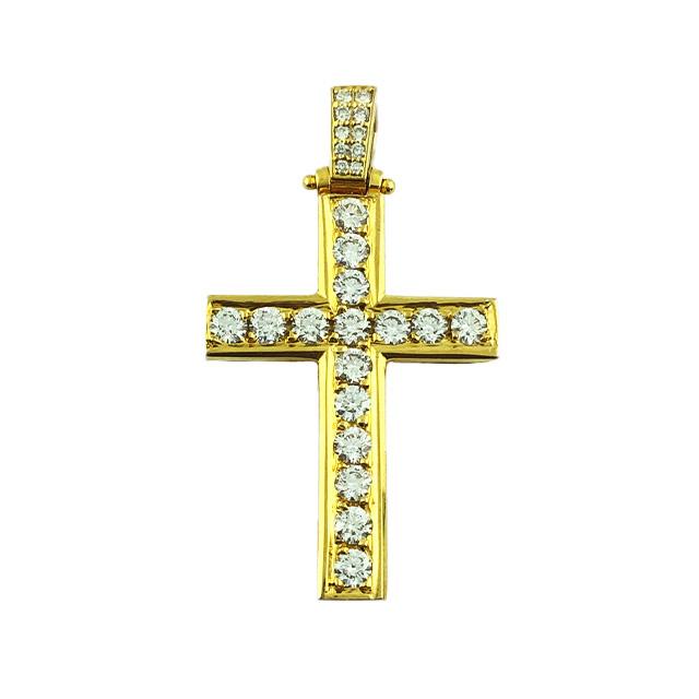 DIAMOND CROSS PENDANT 14K YELLOW GOLD| 5.3G| 1.19CT TDW