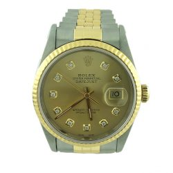 Rolex Oyester Date Just Diamond Dial 18K Gold | SS Jubilee