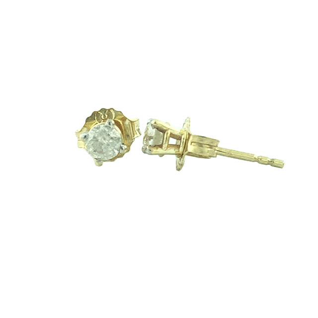 14K YELLOW GOLD DIAMOND EARRING STUDS| 0.30CT TDW| 0.50G
