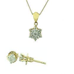 14K YELLOW GOLD NECKLACE DIAMOND PENDANT AND DIAMOND EARRING STUDS| 0.75CT TDW