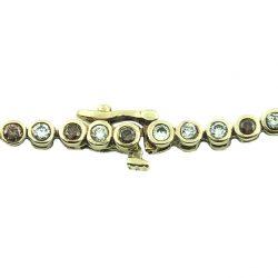 "DIAMOND BRACELET WHITE & CHAMPAGNE BROWN DIAMONDS 2.00CT TDW 14K YELLOW GOLD|LENGTH 8"""