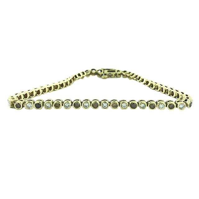 "DIAMOND BRACELET WHITE & CHAMPAGNE BROWN DIAMONDS 2.00CT TDW 14K YELLOW GOLD LENGTH 8"""