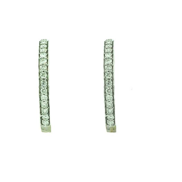 DIAMOND HOOP EARRINGS-14K WHITE GOLD| 0.60CT TDW| 4.3G