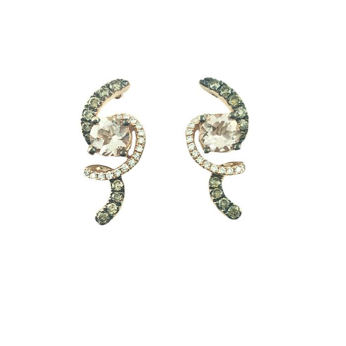 LE VIAN EARRINGS-14K ROSE GOLD| DIAMOND & MOISSANITE| 3G