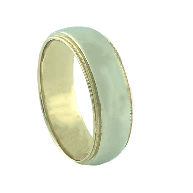 2 TONE MENS BAND-14K YELLOW GOLD| 9.8G| SIZE 12""