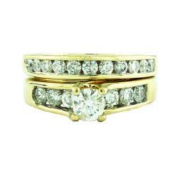 "DIAMOND BRIDAL SET-14K YELLOW GOLD  0.40CT CENTER  1.50CT TDW SIZE 7.75"""
