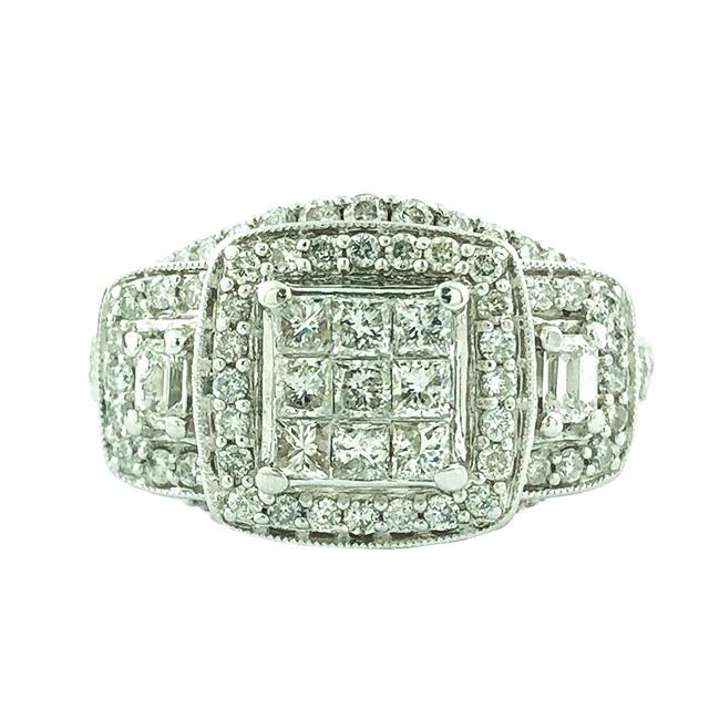 "DIAMOND BRIDAL SET-14K WHITE GOLD| 8.8G| 1.60CT TDW| SIZE 6.25"""