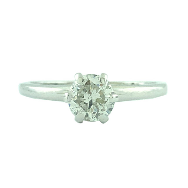 """SOLITAIRE DIAMOND ENGAGEMENT RING-18K WHITE GOLD