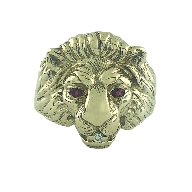 """LION FACE RING-14K YELLOW GOLD