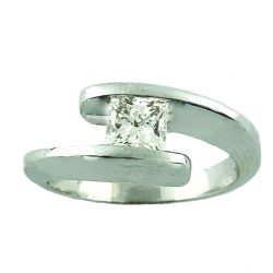 """SOLITAIRE DIAMOND ENGAGEMENT RING-14K WHITE GOLD