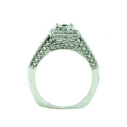 DIAMOND ENGAGEMENT RING-14K WHITE GOLD| 0.45CT CENTER| 1.50CT TDW| SIZE 7""