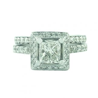 "DIAMOND BRIDAL SET- 18K WHITE GOLD| 0.97CT(C)| 2.02CT TDW| SIZE 6"""