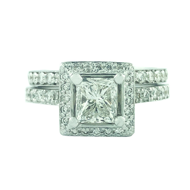 DIAMOND BRIDAL SET- 18K WHITE GOLD| 0.97CT(C)| 2.02CT TDW| SIZE 6""