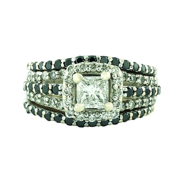 "DIAMOND BRIDAL SET- 14K WHITE GOLD  0.46CT CENTER  1.50CT TDW  SIZE 4.25"""