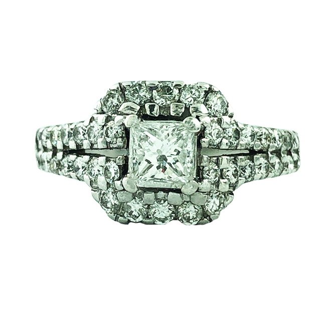 DIAMOND ENGAGEMENT RING-14K WHITE GOLD|3.5 GRAMS WEIGHT| SIZE 4.75""
