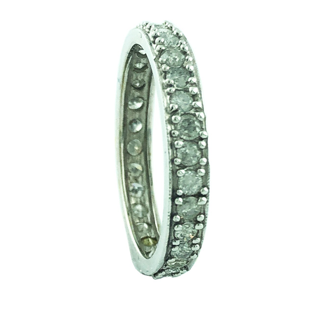 DIAMOND WEDDING BAND- 14K WHITE GOLD| 2.3 GRAMS WEIGHT| 1.00CT TDW| SIZE 7""