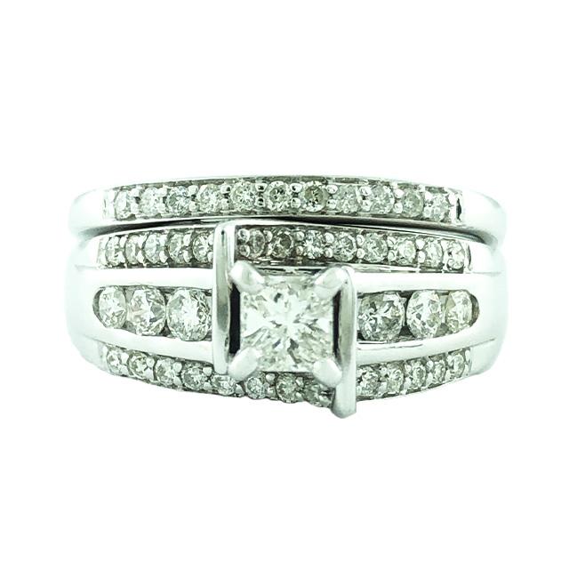 "DIAMOND BRIDAL SET- 14K WHITE GOLD| 0.35CT CENTER| 1.25CT TDW| SIZE 8.25"""