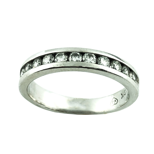 "IGI CERTIFIED DIAMOND WEDDING BAND- 18K WHITE GOLD| 0.50CT  TDW| SIZE 7.25"""