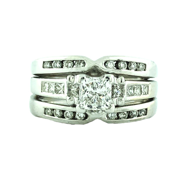 IGI CERTIFIED DIAMOND BRIDAL SET- 14K WHITE GOLD| 0.66CT CENTER| 1.30CT TDW| SIZE 6.50""