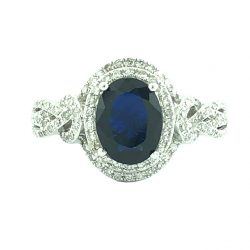EFFY BLUE SAPPHIRE DIAMOND ENGAGEMENT RING- 14K WHITE GOLD| 3.9G| 0.65CT TDW| SIZE 7.25""