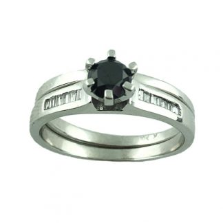 "BLACK DIAMOND BRIDAL SET- 10K WHITE GOLD| 0.55CT(C) | 0.75CT TDW| 5.8G| SIZE 9"""