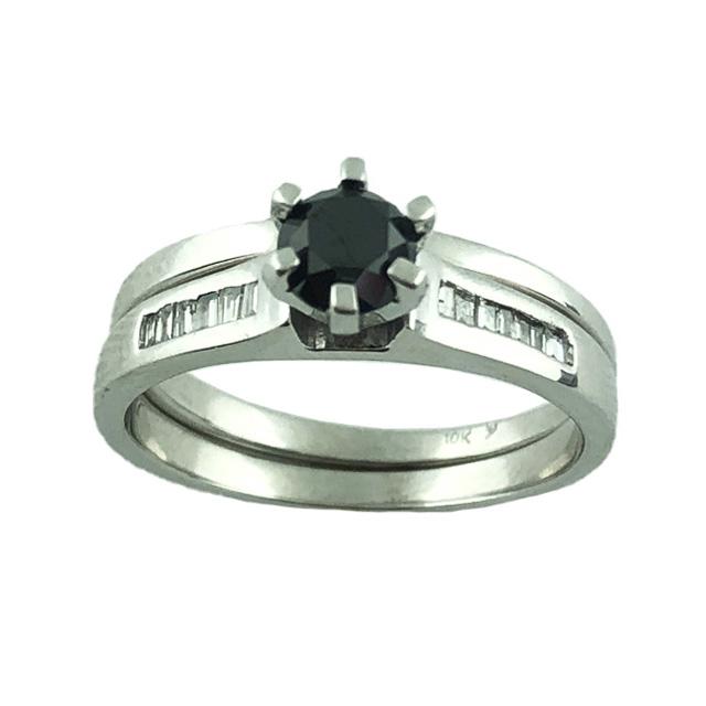 "BLACK DIAMOND BRIDAL SET- 10K WHITE GOLD  0.55CT(C)   0.75CT TDW  5.8G  SIZE 9"""
