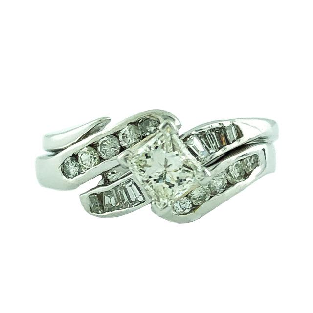 "DIAMOND BRIDAL SET- 14K WHITE GOLD| 0.50CT CENTER| 0.75CT TDW| SIZE 6"""