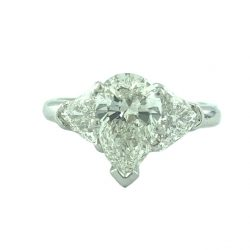 "DIAMOND ENGAGEMENT RING| PLATINUM| 2.01CT CENTER PEAR DIAMOND|2.75CT TDW| SIZE 7"""