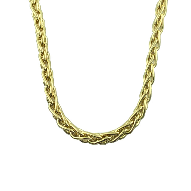 """14K YELLOW GOLD WHEAT CHAIN NECKLACE