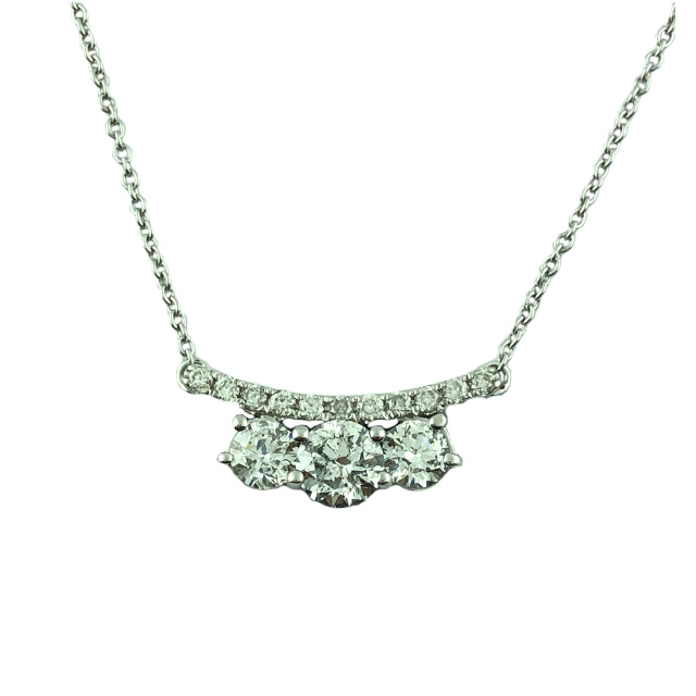 DIAMOND NECKLACE-14K WHITE GOLD| 2.8 GRAMS WEIGHT| 0.35CT CENTER| 1.10CT TDW| 18 INCHES LONG