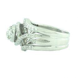 "DIAMOND BRIDAL SET- 14K WHITE GOLD  0.75 CT(C)  3.00CT TDW  SIZE 7"""