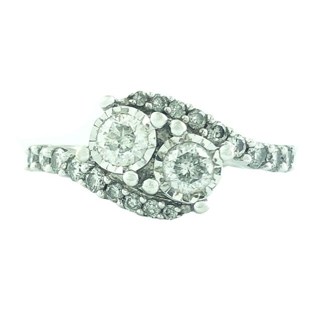 "DIAMOND ENGAGEMENT RING- 14K WHITE GOLD| 3.9 GRAMS WEIGHT|0.92CT TDW| SIZE 6.75"""