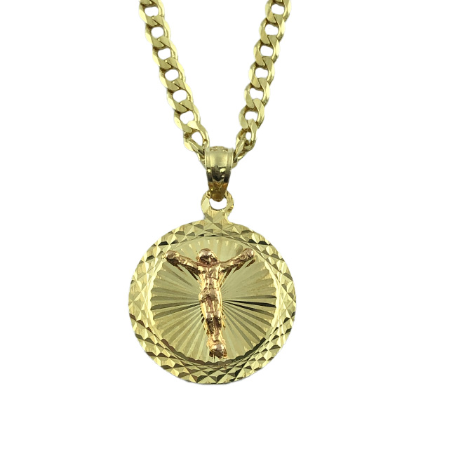 """14K CURB NECKLACE WITH JESUS PENDANT