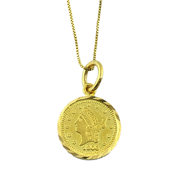 """10K YELLOW GOLD BOX NECKLACE 1906 MODERN PRIZE 22K GOLD COIN  2.0G  LENGTH 18"""""""