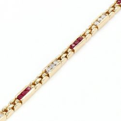 DIAMOND AND RUBY BRACELET- 14K YELLOW GOLD| 1.50CT DIAMOND &RUBY| 16.8G| LENGTH 7""