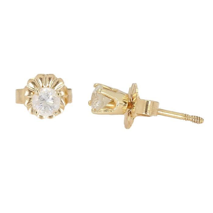 DIAMOND EARRING STUDS- 14K YELLOW GOLD