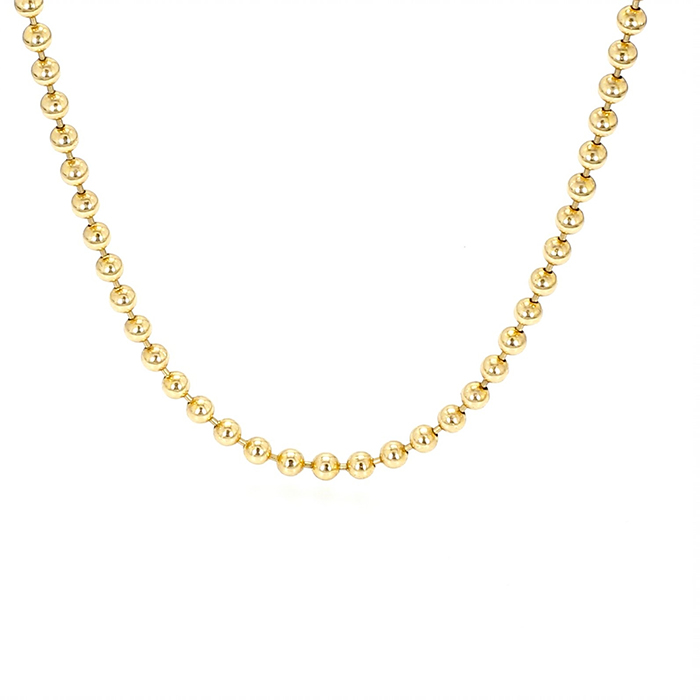"""BALL CHAIN NECKLACE- 14K YELLOW GOLD