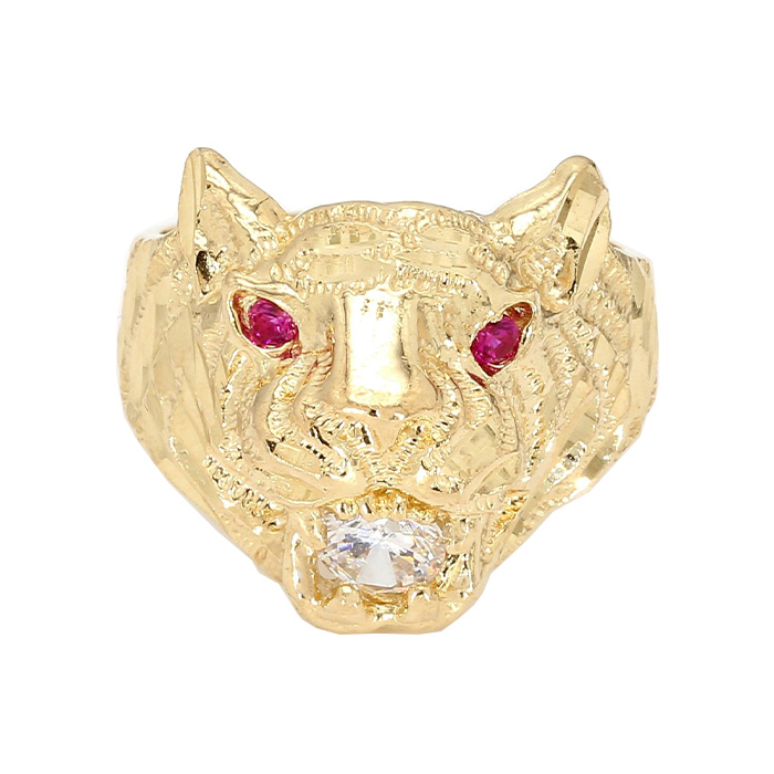 LION HEAD RING- 10K|7.0G| RUBY & CZ| SIZE 6.50""