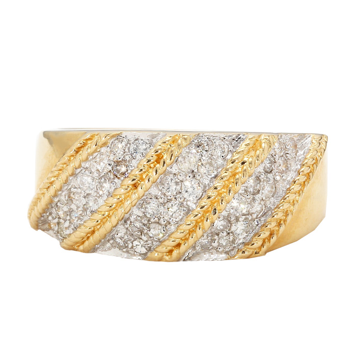 "MENS DIAMOND BAND- 14K YELLOW GOLD| 8.20G| 0.60CT TDW| SIZE 10.25"""