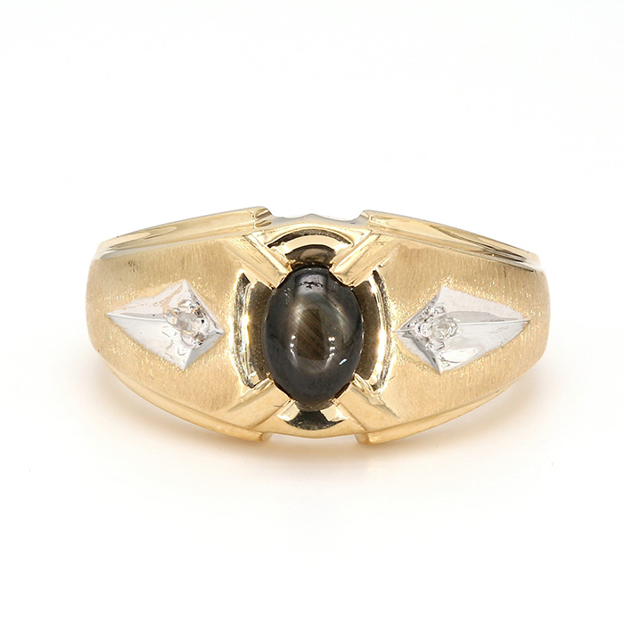 CATS EYE RING- 10K YELLOW GOLD| 4.5G| SIZE 10""
