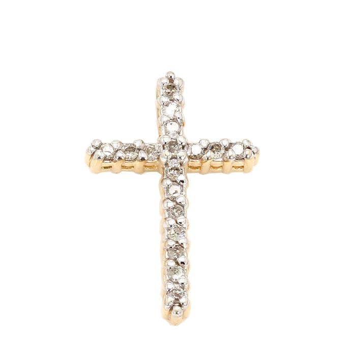 DIAMOND CROSS PENDANT-14K YELLOW GOLD| 0.30CT TDW| 1.5G