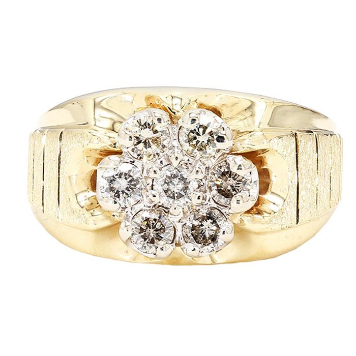 "MENS DIAMOND RING- 14K YELLOW GOLD| 5.2G| 1.00CT TDW| SIZE 10.75"""