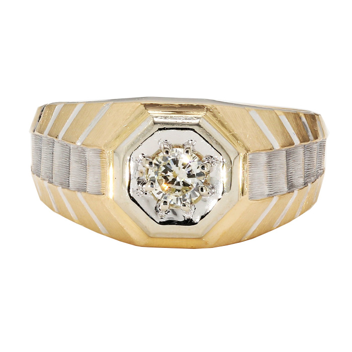 """MENS SOLITAIRE DIAMOND RING- 14K YELLOW GOLD