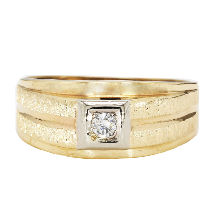 MENS DIAMOND RING- 10K YELLOW GOLD| 4.6G| 0.20CT TDW| SIZE 11""